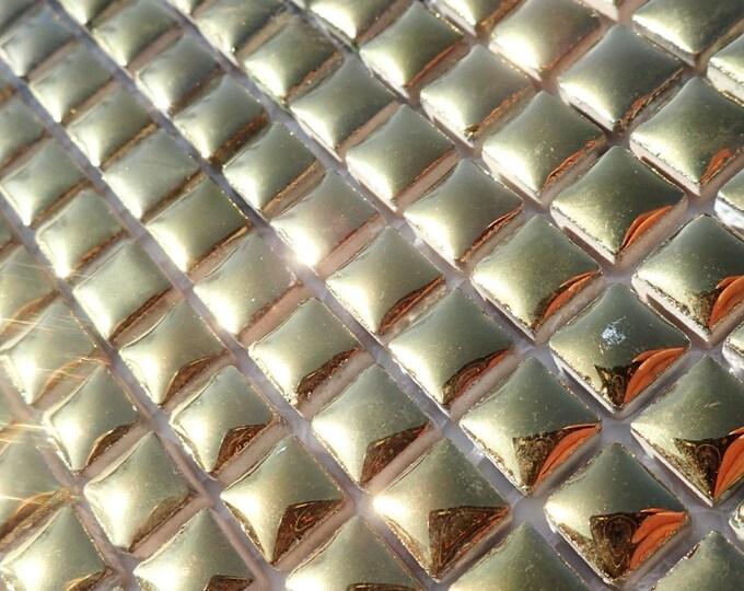 Gold Tiny Square Mosaic Tiles - 1 cm Ceramic  - Half Pound in Shiny Mirror Finish