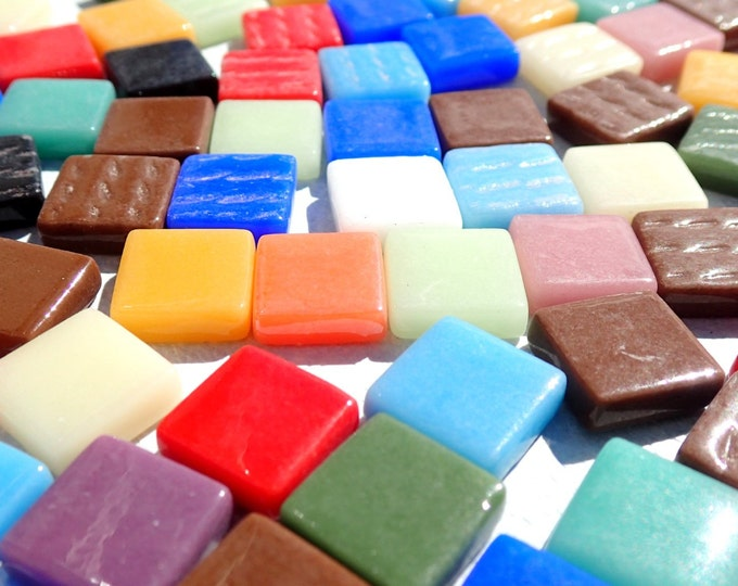 Small Glass Tiles Square - 3/8 inch - Assorted Colors - 100 Opaque Tiles
