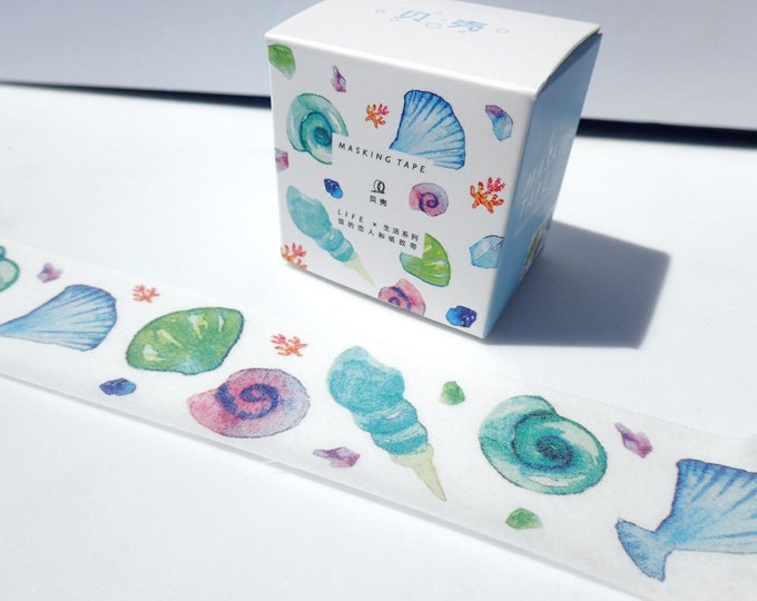 Seashells Washi Tape - Colorful Beach Shells from Ocean - Paper Tape Great for Calendars Scrapbooking Paper Crafts Organizing - 30 mm x 7 m