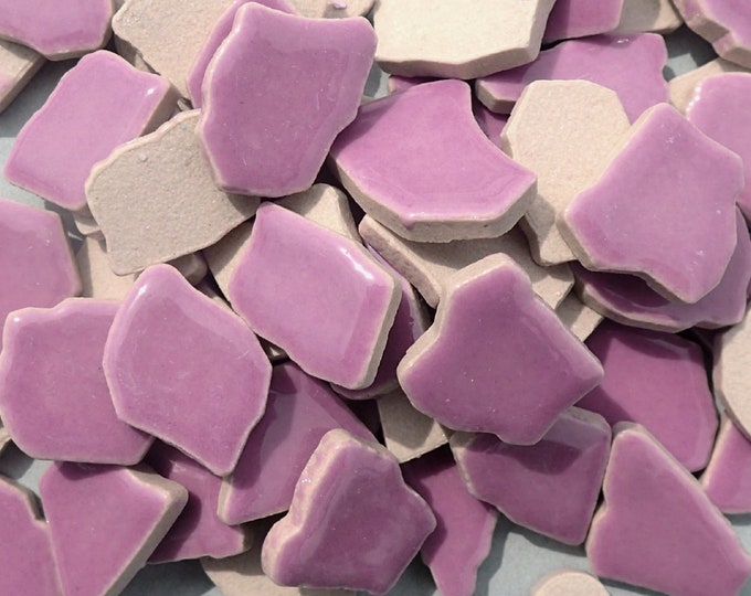 Purple Mosaic Ceramic Tiles - Half Pound - Assorted Sizes Jigsaw Pieces