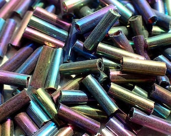 Colorful Metallic Tube Beads - 2x6mm - 20g