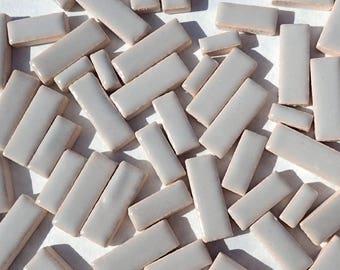"Gray Mini Rectangles Mosaic Tiles - 50g Ceramic in Mix of 3 Sizes 3/8"" and 5/8"" and 3/4"""