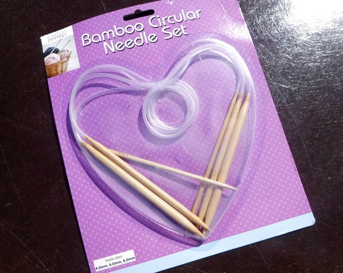 Bamboo Circular Knitting Needles Set - Knitting Notions - Set of 3 Different Sized Needles