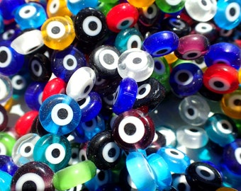 Evil Eye Glass Beads  - Small 8mm in Assorted Colors