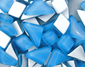 Pool Blue Glass Puzzle Tiles - Assorted Shapes - 100 grams