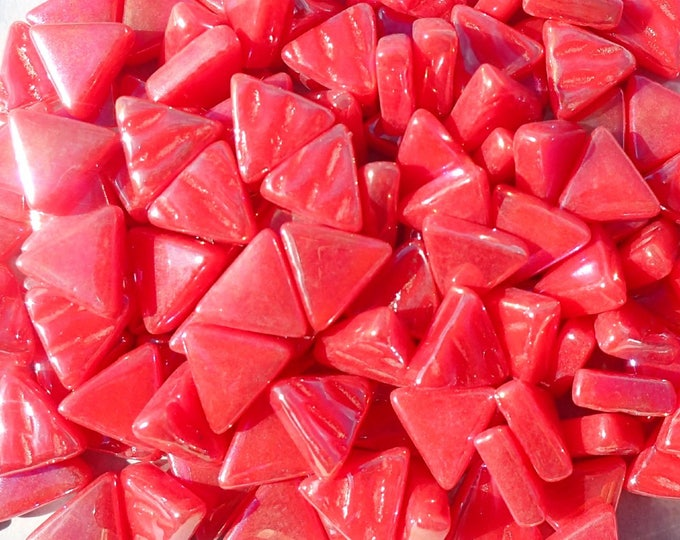 Small Red Triangle Iridescent Glass Mosaic Tiles - 10mm - Opaque Glass Solid Color - 50g of Watermelon Triangles in Pearl Finish