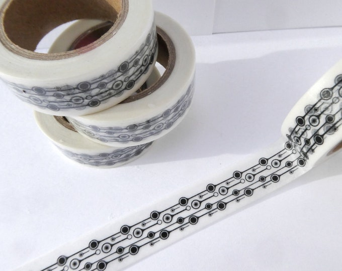 Modern Circles Washi Tape in Black and White - Paper Tape Great for Scrapbooking Paper Crafts and Decorations and Celebrations 15mm x 10m