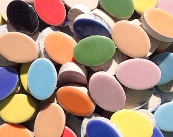 """Oval Mosaic Tiles - 50 Ceramic 3/4"""" Inch Tiles in Assorted Colors"""