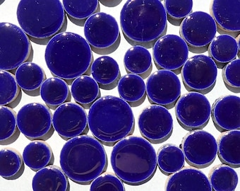 """Dark Blue Circles Mosaic Tiles - 50g Ceramic in Mix of 3 Sizes 1/2"""" and 3/4"""" and 5/8"""""""