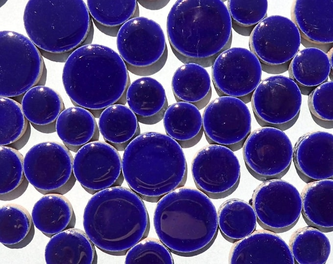 "Dark Blue Circles Mosaic Tiles - 50g Ceramic in Mix of 3 Sizes 1/2"" and 3/4"" and 5/8"""