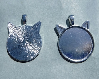 Silver Cat Head Pendant Cabochon Base - 1 inch