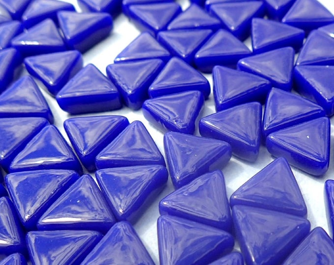 Small Blue Triangle Glass Mosaic Tiles - 10mm - Opaque Glass Solid Color - 50g of Triangles in Royal Blue