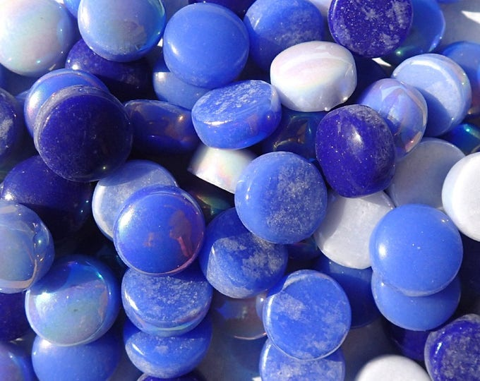 Rainy Day Blues Mix Glass Drops Mosaic Tiles - 100 grams Vase Fillers - Flat Marbles Mix of Gloss and Iridescent Glass Gems
