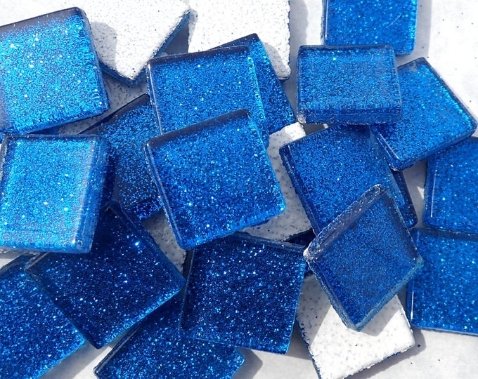 Blue Glitter Tiles - 20mm Mosaic Tiles - 25 Metallic Glass Tiles in Medium Blue
