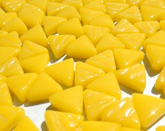 Small Yellow Triangle Glass Mosaic Tiles - 10mm - Opaque Glass Solid Color - 50g of Triangles