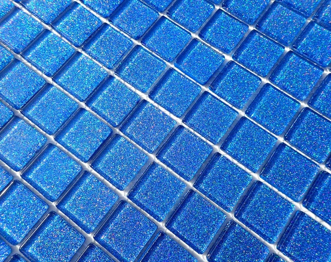 Blue Glitter Tiles - 1 inch Mosaic Tiles - 25 Metallic Glass Tiles - Medium Blue