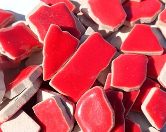 Bright Red Jigsaw Mosaic Ceramic Tiles - Puzzle Shaped Pieces - Half Pound