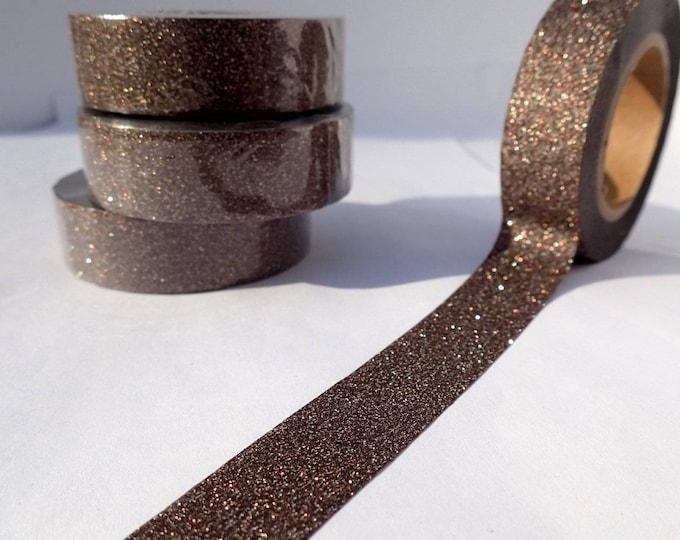 Glitter Washi Tape in Dark Bronze -  Paper Tape Great for Scrapbooking Paper Crafts - 1 roll 15mm x 10m Dark Brown Metallic