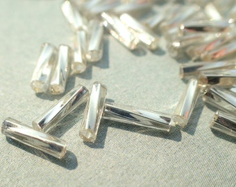 Silver Twisted Bugle Beads - 2x6mm - 20g