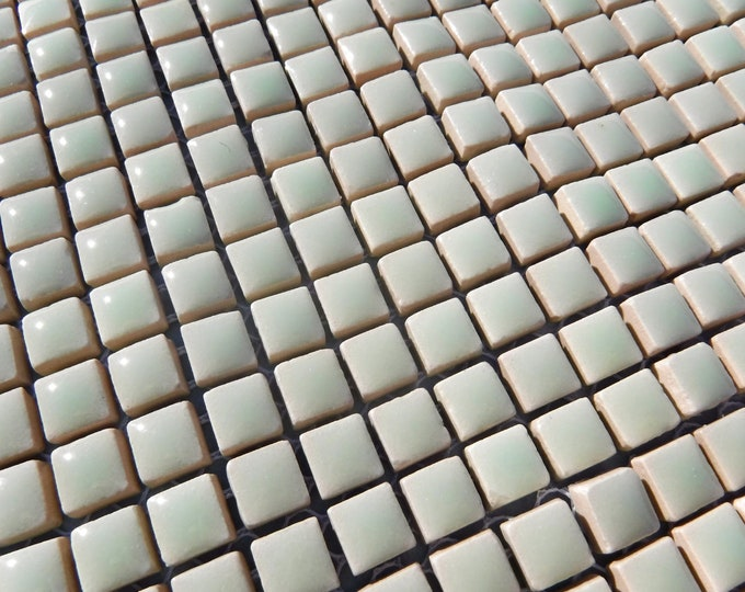 Pistachio Green Square Mosaic Tiles - 1 cm Ceramic  - Half Pound in Muted Peppermint Green