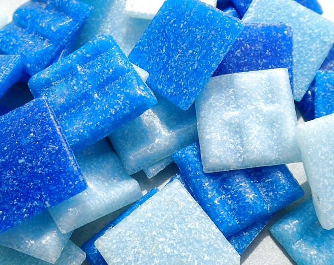 Blue Mix Glass Mosaic Tiles Squares - 20mm - Half Pound