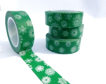 Green Snowflakes Washi Tape - Paper Tape Great for Scrapbooking Paper Crafts and Winter Decorations - White Flakes on Green Tape 15mm x 10m