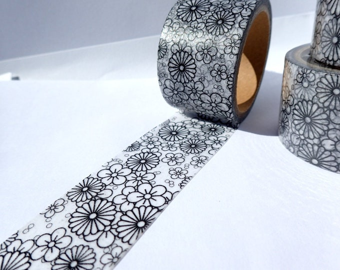Flowers Color Your Own Washi Tape  - 30 mm x 5 m