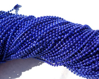 Bright Blue Ball Chain Necklaces - 24 inch - 2.4mm Diameter - Set of 10