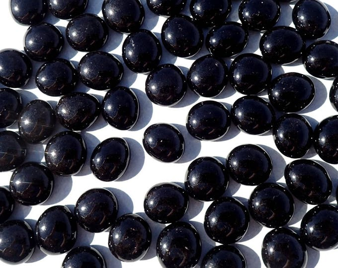 Black Mini Glass Gems - Set of 50