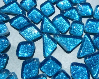 Sky Blue Glitter Puzzle Tiles - 100 grams in Assorted Shapes