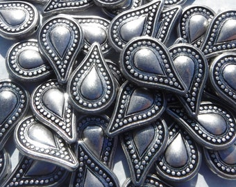 Large Metallic Tear Drop Beads - Silver-Toned 25mm Detailed Beads