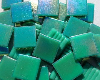 Rainforest Green Iridescent Venetian Glass Tiles - 20mm - 100 grams