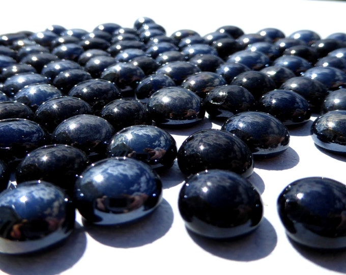 Black Iridescent Mini Glass Gems Mosaic Tiles - 50 - Flat Back Marbles - Luster Finish Ebony Vase Fillers for Home Decor and Weddings