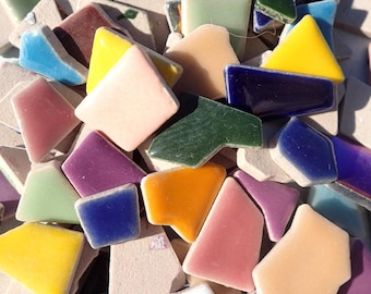 Mosaic Ceramic Tiles - 50 Tiles - Random Geometric Shapes in Assorted Colors