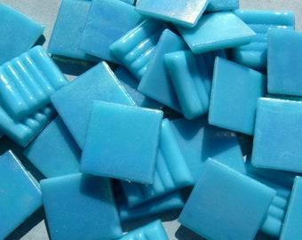 Turquoise Blue Iridescent Venetian Glass Tiles - 20mm - 100 grams