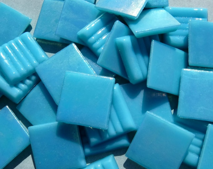 Turquoise Blue Iridescent Venetian Glass Tiles - 20mm - 100 grams