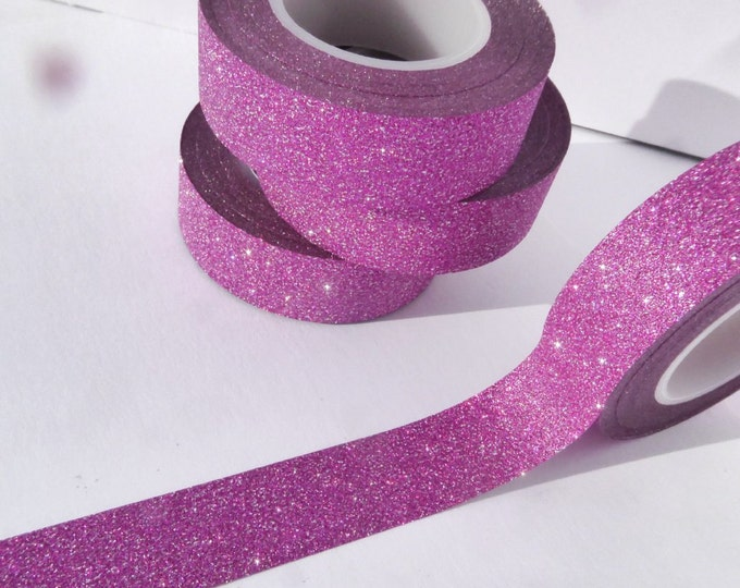 Glitter Washi Tape in Dark Pink Fuchsia - Paper Tape Great for Scrapbooking Paper Crafts and Decorations - 15mm x 10m