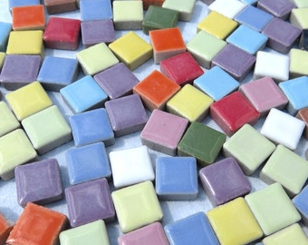 Tiny Square Mosaic Tiles in Assorted Colors 3/8 Inch Ceramic  - 1 Pound