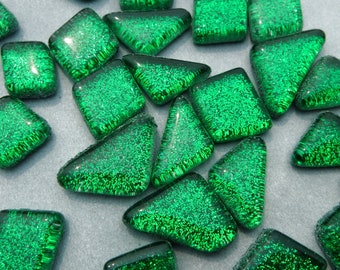 Forest Green Glitter Puzzle Tiles - 100 grams