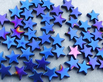 Star Beads - Blue Metallic - 8mm