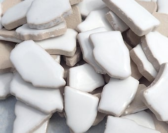 White Mosaic Ceramic Tiles - Random Shapes - Half Pound - Assorted Sizes Jigsaw Puzzle Type Pieces - Mosaic Art Supplies