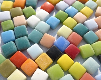 """Small Glass Tiles Square - 1/2"""" - Assorted Colors - 100 Opaque Glass Solid Color - Thicker Tiles with Smooth Edges"""