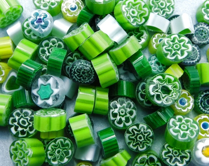 Green Millefiori - 25 grams - Mix of Different Patterns Shapes and Colors