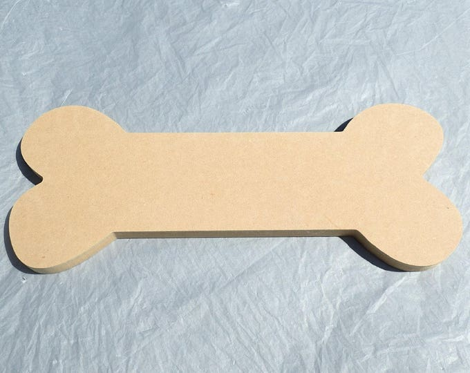 "Dog Bone Plaque - Use as a Base for Mosaics Decoupage or Decorative Painting - Unfinished MDF 12"" x 5"" Pet Home Decor"