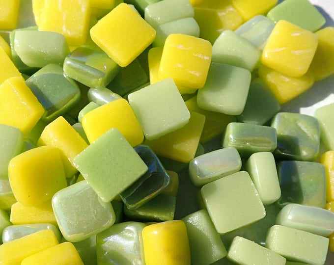 Lemon Lime Mix Mini Glass Tiles - 8mm Square - 50 grams Opaque Glass Solid Color Mix of Green and Yellow Iridescent and Matte Tiles