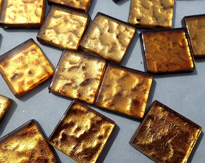 Dark Gold Foil Square Tiles - 25 Glass Mosaic Tiles - 20mm