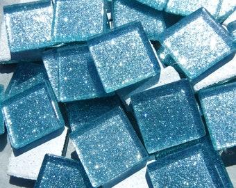 Raindrop Blue Glitter Tiles - 20mm - 25 Tiles