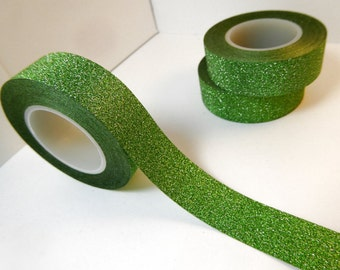Glitter Washi Tape in Green - Paper Tape Great for Scrapbooking Paper Crafts and Decorations for St Patricks Day and Christmas