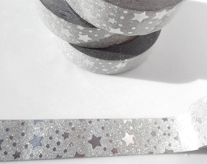 Silver Stars on Glitter Washi Tape - Paper Tape with Silver Stars - Great for Scrapbooking Paper Crafts and Mixed Media - 15mm x 10m