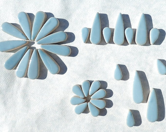 "Light Blue Teardrop Mosaic Tiles - 50g Ceramic Petals in Mix of 2 Sizes 1/2"" and 3/5"" in Azure"